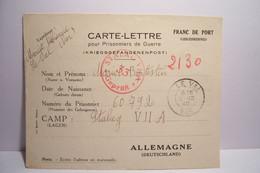 MILITARIA - CARTE-LETTRE Pour  PRISONNIERS De GUERRE - KRIEGSGEFANGENENPOST -  STALAG - Année 1940 - Guerra 1939-45