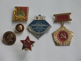 Lot 6 Insignes Russe - Insignes Du Parti - Insigne De Marine Et Autre   **** EN ACHAT IMMEDIAT **** - Other