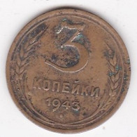 Russie 3 Kopeks 1943, 11 Rubans, Bronze-aluminium. Y# 107 - Russland