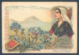 Lot De 4 Chromos Fleurs De France Bleuet Arnica Digitale Anémone 7 X 10.5 Cm - Other