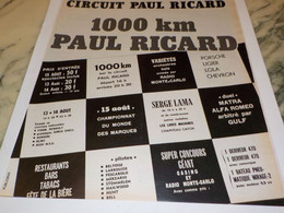 ANCIENNE PUBLICITE CIRCUIT PAUL RICARD  1974 - Other