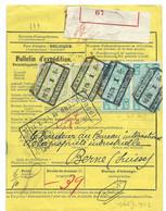 TR 59(x2)+TR 148(x2) SUR BULLETIN D'EXPEDITION COMPLET POUR LA SUISSE - 1923-1941