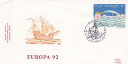 Enveloppe FDC 2454 Europa Christophe Colomb Bateau Brugge - 1991-00