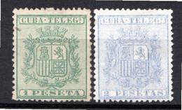 CUBA - (Occupation Espagnole) - 1875 - Télégraphe - N° 32 Et 33 - (Lot De 2 Valeurs Différentes) - (Armoiries) - Telegrafo