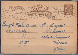 CP Sans Valeur CP1 Type Iris (14 Lignes De Texte Au Verso) Nice Garibaldi Pour Fresnes 3 XII 1940 - Postales Tipos Y (antes De 1995)