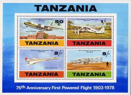 Tanzanie Tanzania 1978 75 Years Motorized Flight Wright Flyer I, Fokker Friendship, De Havilland Dragon, Concorde - Aerei