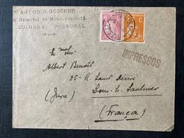 1922 PORTUGAL ANTONIO GODINHO IMPRESSOS COIMBRA POSTE PAR LONS LE SAUNIER FRANCA FRANCE - Lettere
