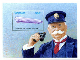 Tanzanie Tanzania 1992 Birth Naissance Ferdinand Von Zeppelin 150 Years  LZ-5 Z-II - Zeppelines