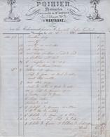 MORTAGNE AU PERCHE ORNE POIRIER PHARMACIEN SUCCESSEUR DE MR DUPONT FACTURE DOUBLE ANNEE 1862 PLI COTE DROITE - Unclassified