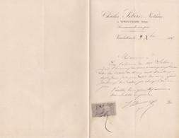 VIMOUTIERS CHARLES SEBIRE NOTAIRE LETTRE DOUBLE AVEC TIMBRE FISCAL ANNEE 1897 - Unclassified