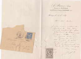 MORTAGNE AU PERCHE ORNE A BARON LETTRE DOUBLE AVEC ENVELOPPE CACHET POSTE ET TIMBRE FISCAL ANNEE 1890 - Unclassified