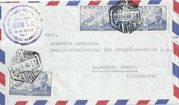 "Airmail Brief  ""Norin, Nord Africaine Industriel SA, Tanger"" - Emmerich            1953 - 1951-60 Cartas"