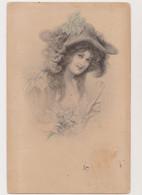 Carte Fantaisie .M.M.VIENNE  /Jeune Femme Avec Un Chapeau Tenant Un Binocle à La Main Et Un Bouquet à L'autre Main - Non Classificati