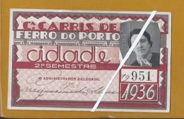 Bilhete Semestral Da Carris De Ferro Do Porto De 1936. Carris Do Porto 1936 Semiannual Ticket. Porto Railroad Company. - Europa