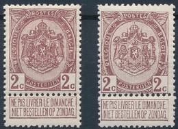[** SUP] N° 82+82a, 2 Cent - Les Deux Nuances - Cote: 140€ - 1893-1907 Coat Of Arms