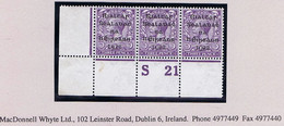 Ireland 1922 Dollard Rialtas Black Ovpt 3d Control S21 Perf Corner Strip Of 3 Mint Unmounted Never Hinged - Unused Stamps