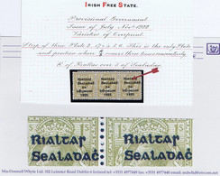 """Ireland 1922 Thom Rialtas Blue-black 1s Bistre Brown Strip Of 3 Each With Var """"R Over S"""" Row 17 Stamps 4 To 6 Fresh Mint - Unused Stamps"""
