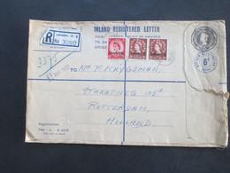 GB Kolonie 1957 Marken Mit Aufdruck Tangier Registered Letter London W8 Nach Rotterdam Mit Zollaufkleber - Marruecos (1956-...)