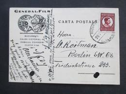 Rumänien Um 1930 Dekorative Firmen Postkarte General Film Bucuresti Cineastik - Covers & Documents