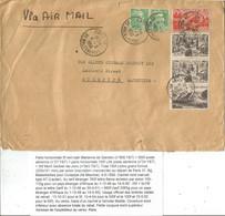 PA 500FR N°27+ 100FRX2+ N°843 + GANDON 5FR PAIRE LETTRE Manque Un Rabat AVION PARIS 37 4.5.1950 POUR ILE MAURICE RARE - 1921-1960: Moderne