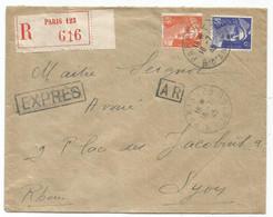 GANDON 10FR ORANGE+ 6FR BLEU LETTRE REC EXPRES AR PARIS 123 16.7.1945 AU TARIF - 1945-54 Marianne De Gandon