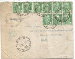 GANDON 5FR N°809X9 PNEUMATIQUE PARIS 113 7.2.1950 AU TARIF - 1945-54 Marianne De Gandon