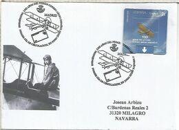 MADRID SPD FDC 100 AÑOS CORREO AEREO EN ESPAÑA AIR MAIL AVION BIPLANO - Flugzeuge