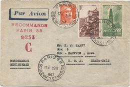 ARRAS 10FR + N°763+ 10FR GANDON ORANGE LETTRE REC PROVISOIRE AVION PARIS 88 29.III.1947 POUR USA AU TARIF - 1921-1960: Modern Tijdperk