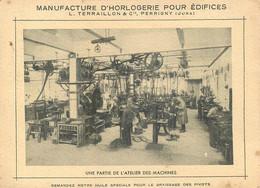 """39 - PERRIGNY - MANUFACTURE D'HORLOGERIE """"L. TERRAILLON & Cie."""" - CARTE COMMERCIALE ANCIENNE (10 X 14 Cm) - Altri Comuni"""