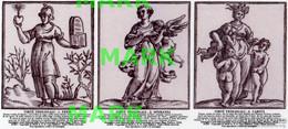 ACEO (Art Card Editions And Originals) TRIPLE PRINT Lotto LE 3 VIRTÙ TEOLOGALI DI CESARE RIPA (1618) - Prenten & Gravure