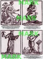 ACEO (Art Card Editions And Originals) QUADRUPLE PRINT Lotto LE 4 COMPLESSIONI DI CESARE RIPA (1618) - Prenten & Gravure