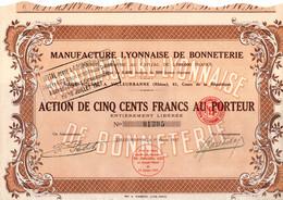 Action De 500 Frcs Au Porteur -  Manufacture Lyonnaise De Bonneterie S.A. - Villeurbanne - Rhône - 1927. - Textil