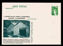 Entier CARTE POSTALE   Vert 1,20F Illustré  Borda D' ANDORRA L'Hospitalet Près L' Andorre NEUF SUP.  2 Scan - Altri