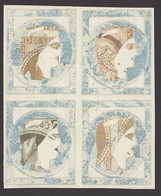 France 1849-52 Essays And Colour Trials 15c. Blue, Decoupage Block Of Four Built Up With Parts Of 1863 20c. In Brown And - Sin Clasificación