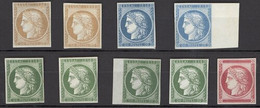 """France 1849-52 Essays And Colour Trials """"essai 1858"""" """"00postes00"""" In Blue (2), In Green (4, One On Card), - Sin Clasificación"""
