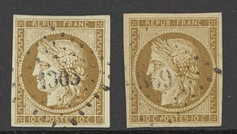 X France 1849-52 First Issue 10c. Bistre-yellow, Two Used Examples With Good To Large Margins, Each Cancelled By Light S - Sin Clasificación