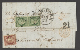X France 1849-52 First Issue 1853 (4 Jan.) Entire Letter To New Orleans, Louisiana Bearing 15c. Green Vertical Pair And  - Sin Clasificación
