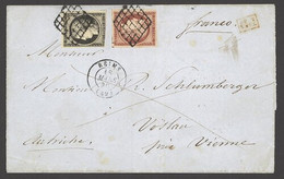 X France 1849-52 First Issue 1850 (18 Mar.) Entire (missing Side Flaps) To Vienna Bearing 20c. Black On Yellow And 1f. C - Sin Clasificación