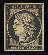 X France 1849-52 First Issue 20c. Black On Yellowish, A Fine Unused Example With Part Original Gum; Four Even Margins. S - Sin Clasificación