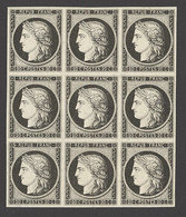 X France 1849-52 First Issue 20c. Black On White, Block Of Nine (3x3) With Good Even Margins; Large Part Original Gum, A - Sin Clasificación