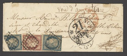 X France 1849-52 First Issue 1850 (8 Jan.) Envelope (complete With Contents) To New Orleans, Louisiana Via. England Bear - Sin Clasificación