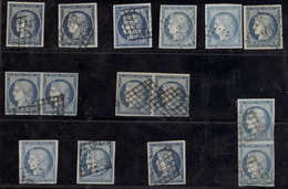 France 1849-52 First Issue 1850 25c. Blue, A Used Selection (15) Comprising Three Pairs Cancelled With Grille Obliterati - Sin Clasificación