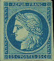 France 1849-52 First Issue 25c. Deep Blue, Part Original Gum, Part Of Sheet Margin At Left - Sin Clasificación