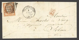 X France 1849-52 First Issue 1851 (1 Apr.) Entire Letter To Solothurn, Switzerland Bearing 40c. Orange With Large Margin - Sin Clasificación
