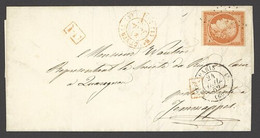 X France 1849-52 First Issue 1852 (24 Jul.) Entire Letter To Jemappes, Belgium Bearing 40c. Orange Tied By étoile Cancel - Sin Clasificación