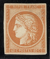 X France 1849-52 First Issue 40c. Orange, An Unused Example Without Gum, Large Margins, Repaired Tear At Upper Right And - Sin Clasificación