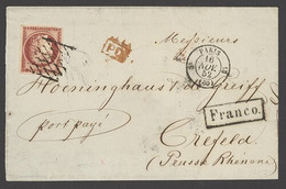 X France 1849-52 First Issue 1852 (16 Nov.) Part Letter To 'Crefeld, (Prusse Rhénane)', (Krefeld, Germany) Bearing 1f. C - Sin Clasificación