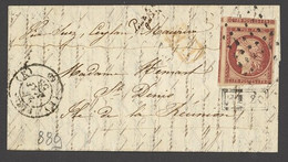 X France 1849-52 First Issue 1853 (24 May) Entire Letter To St. Denis, Reunion Bearing 1f. Carmine With Enromous Margins - Sin Clasificación