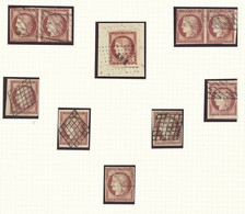 X France 1849-50 First Issue 1fr. Carmine, A Selection Of Used Examples On A Frank Godden Album Page (10) Comprising Two - Sin Clasificación