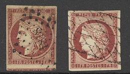 France 1849-50 First Issue 1fr. Carmine (2), The First With Good To Enormous Margins With Part Of The Lower Stamp Visibl - Sin Clasificación